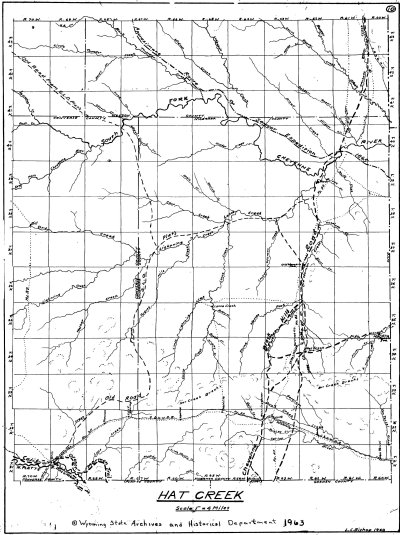 L. C. Bishop Emigrant Trail Map Series --  Hat Creek, Cheyenne Deadwood Stage Road
